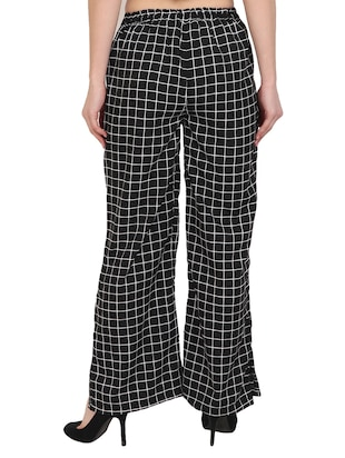 black checkered crepe palazzo - 14918957 - Standard Image - 3