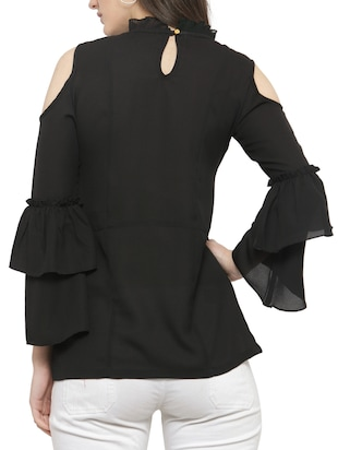 solid black cold shoulder top - 14919782 - Standard Image - 3