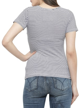 black striped cotton tee - 14919786 - Standard Image - 3