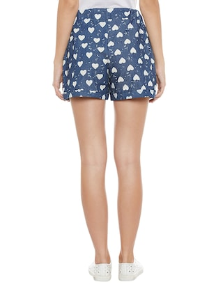 blue printed cotton shorts - 14921412 - Standard Image - 3
