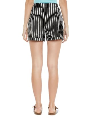 black striped cotton shorts - 14921415 - Standard Image - 3
