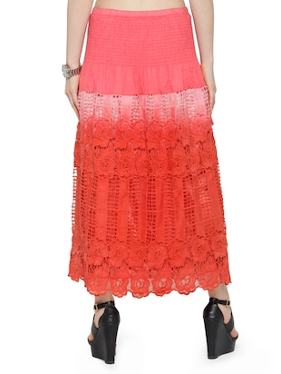 red cotton ombre maxi skirt - 14921473 - Standard Image - 3