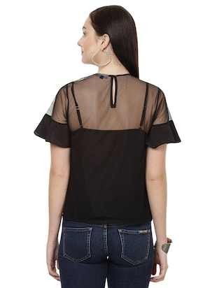 floral patch sheer top - 14923841 - Standard Image - 3