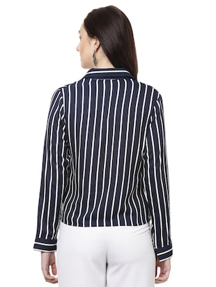 striped wrap polyester top - 14923863 - Standard Image - 3