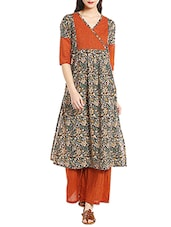 Multicolored cotton a-line kurta -  online shopping for kurtas