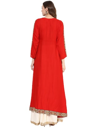 red rayon layered  kurta - 14924526 - Standard Image - 3
