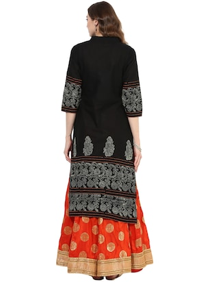 black cotton straight kurta - 14924540 - Standard Image - 3