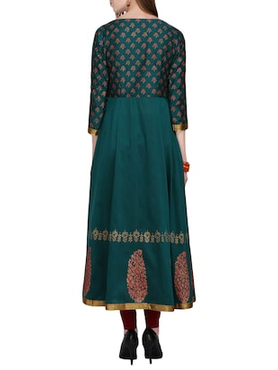 KAANCHIE NANGGIA green cotton blend flared kurta - 14926700 - Standard Image - 3