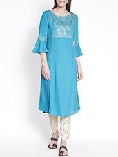 Turquoise Rayon Straight Kurta - By