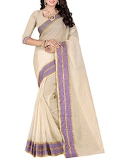 cream cotton blend woven saree -  online shopping for Sarees