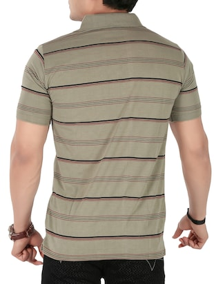 olive green cotton striped -shirt - 14946426 - Standard Image - 3