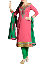 pink cotton salwar suit unstitched -  online shopping for Unstitched Suits