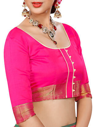 pink patola silk saree with blouse - 14958477 - Standard Image - 3