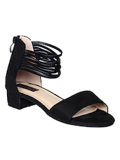 black faux leather closed back sandals - online shopping for sandals