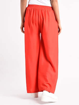 red solid cotton palazzo - 14961914 - Standard Image - 3