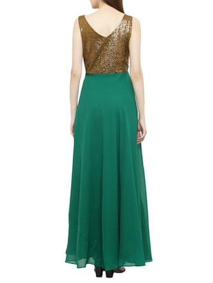 green georgette gown dress - 14966383 - Standard Image - 3