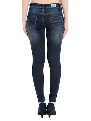 dark blue denim knee slit jeans - 14966636 - Standard Image - 3