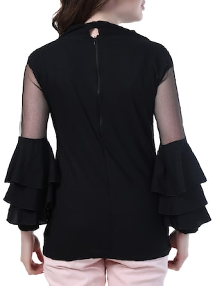 mesh insert layered bell sleeved top - 14967012 - Standard Image - 3
