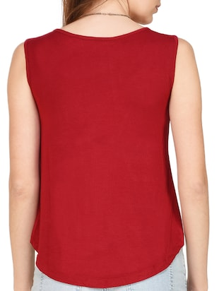 maroon viscose printed crop top - 14979636 - Standard Image - 3