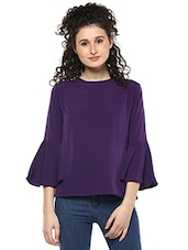 solid purple crepe top -  online shopping for Tops