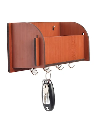 Long Pocket Shelf-Brown KeyHolder Wooden Key Holder (7 Hooks) - 14990913 - Standard Image - 3