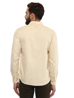 beige cotton casual shirt - 14997409 - Standard Image - 3