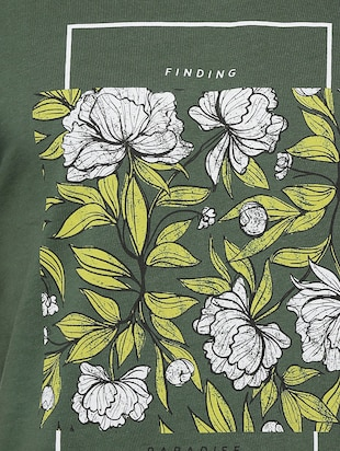 green cotton chest print t-shirt - 15007320 - Standard Image - 3