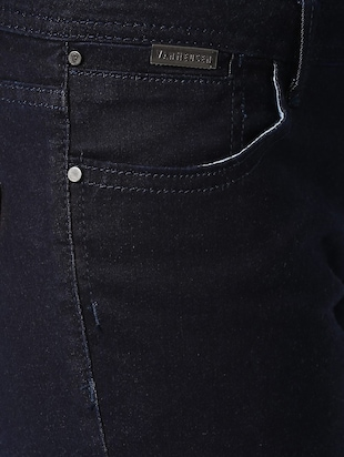 navy blue solid denim jeans - 15007369 - Standard Image - 3
