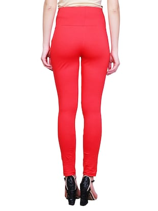 red solid maternity wear leggings - 15007932 - Standard Image - 3