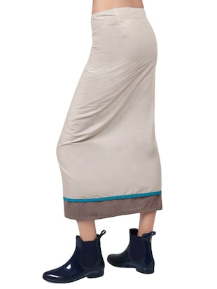 beige solid cotton wrap skirt - 15008122 - Standard Image - 3