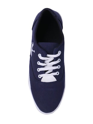 navy Canvas lace up sneaker - 15009880 - Standard Image - 3