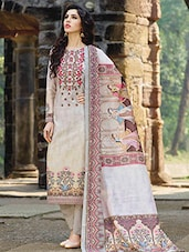 Beige straight pant suits semi-stitched suit -  online shopping for Semi-Stitched Suits