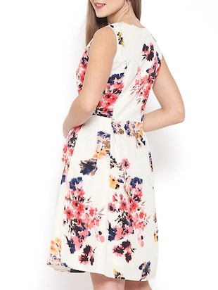 white floral fit and flare dress - 15011288 - Standard Image - 3