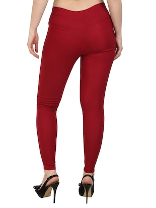 red solid jeggings - 15012454 - Standard Image - 3