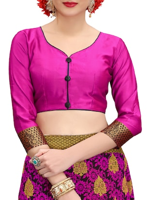 pink banarasi silk saree with blouse - 15013170 - Standard Image - 3