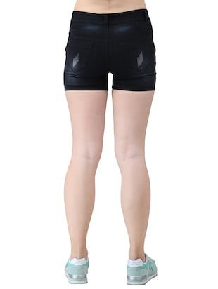 black solid denim shorts - 15013212 - Standard Image - 3