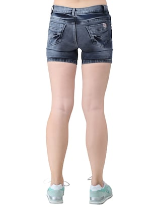 blue solid denim shorts - 15013214 - Standard Image - 3