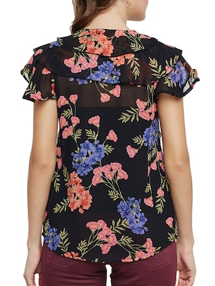 Ruffled key hole front floral top - 15013544 - Standard Image - 3