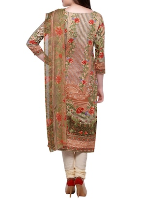 Cream churidaar suits unstitched suit - 15014061 - Standard Image - 3