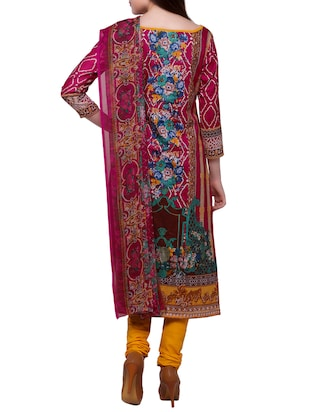 Pink churidaar suits unstitched suit - 15014064 - Standard Image - 3