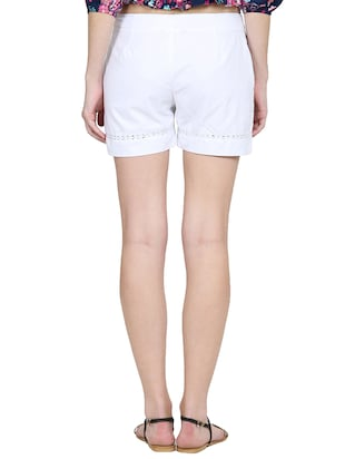 solid white cotton shorts - 15014654 - Standard Image - 3
