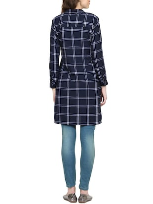 navy blue checkered tunic - 15015536 - Standard Image - 3