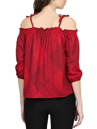 red checkered cold shoulder top - 15015543 - Standard Image - 3