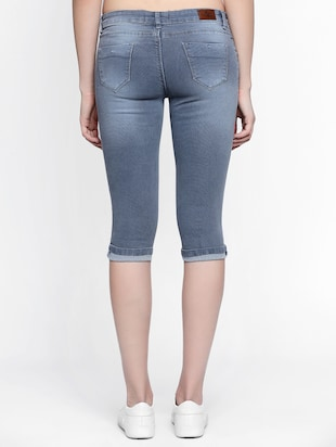 grey stone wash denim capri - 15015591 - Standard Image - 3