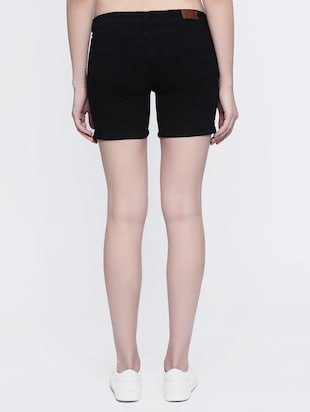 black denim shorts - 15015928 - Standard Image - 3