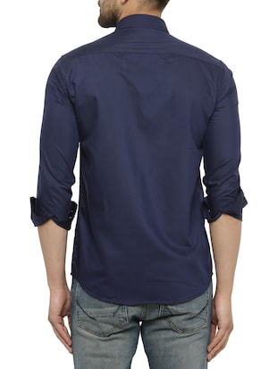 navy blue cotton casual shirt - 15017335 - Standard Image - 3