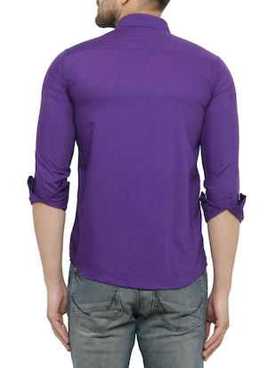 purple cotton casual shirt - 15017336 - Standard Image - 3
