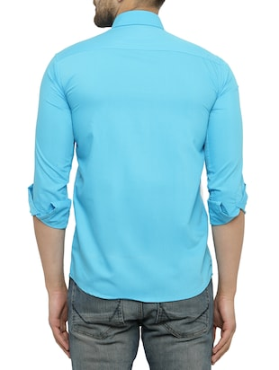 light blue cotton casual shirt - 15017338 - Standard Image - 3