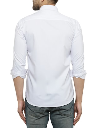 white cotton casual shirt - 15017339 - Standard Image - 3