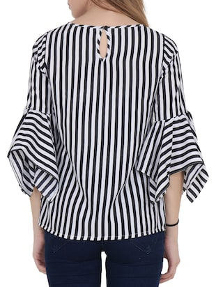 black striped crepe top - 15017361 - Standard Image - 3